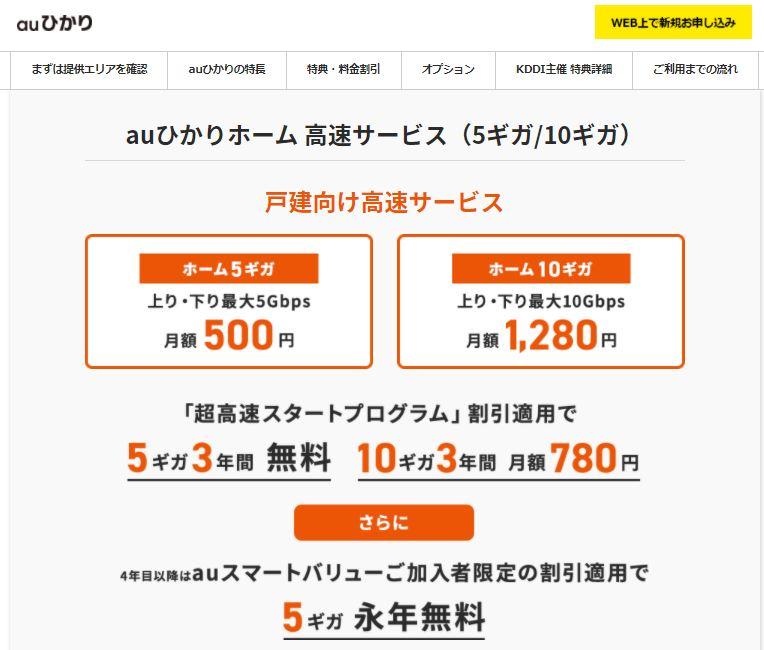 So-net  auひかり ホーム高速サービス「10ギガ」「5ギガ」